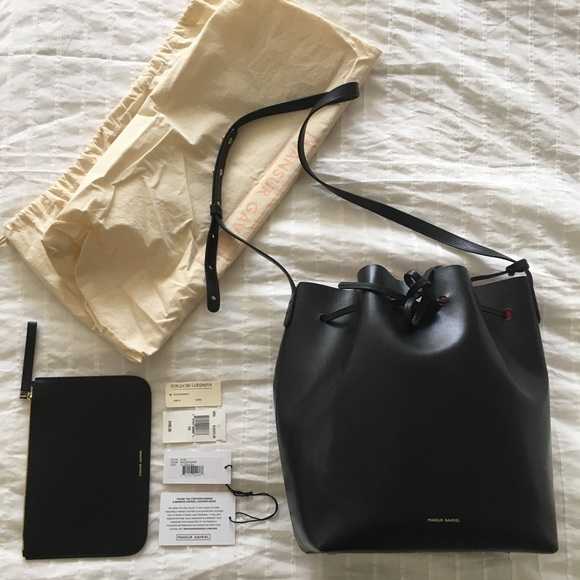 Mansur Gavriel Handbags - Mansur Gavriel Bucket Bag Large - Black Flamma
